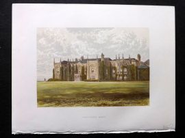 Morris Seats 1860's Antique Print. Combermere Abbey